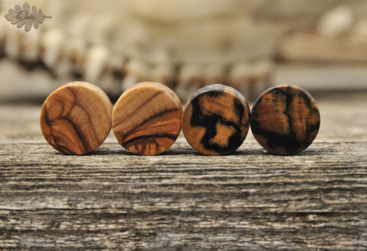 "oaksplugs:  1/2"" Olive wood and  Black and White plugs"