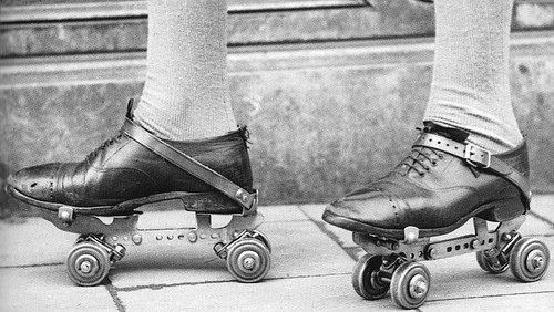 "rosaedora:  Bela Lugosi's Roller Skates Because Lugosi never learned to drive he got around Hollywood on rollerskates.Vampira describes her first meeting with Bela : ""I was a young girl window-shopping on Hollywood Boulevard. I was bending low to see the detail of some shoes and someone whizzed around the corner on rollerskates, almost bumped my fanny and crashed into me. 'Pardon me,' said he, and 'Pardon me,' said I. He was wearing an Ascot cravat and a beret. It was Bela Lugosi on rollerskates. He was on his way to a cigar store."""