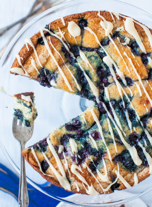 Blueberry and Jam Buttermilk Coffee Cake with Buttery Vanilla Glaze by Averie Cooks