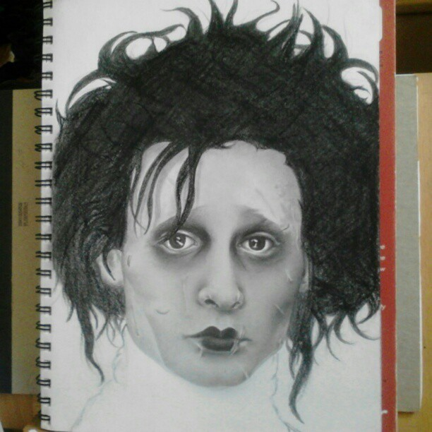 Progress on this Edward Scissorhands touch up. #art #drawing #wip #scissorhands