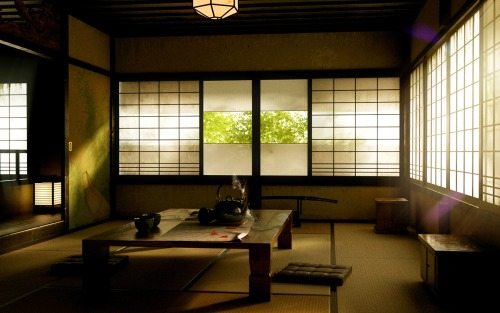 Japanese house interior, early afternoon, shades drawn.