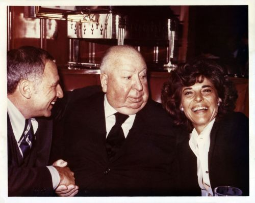 Mel Brooks, Alfred Hitchcock, and Anne Bancroft