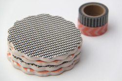 scissorsandthread:  Washi Tape Coasters | Smashed Peas & Carrots I remember the first time I saw washi tape in a project - I loved it but back then I could only find the tape in a Japanese import store and on etsy! Now you can find it everywhere and in lots of pretty colours. And there are so many awesome quick projects you can use it with. These pretty coasters are a great example. If you can't find plain ceramic coasters, buy yourself some air dry clay and make your own!