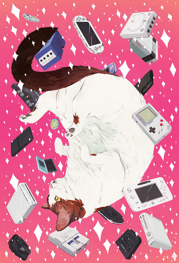 tinycartridge:  Cat and consoles by Kyle Fewell One of many wonderful pieces appearing at Attract Mode's Comics Vs. Games 2 event at The Toronto Comic Arts Festival running from May 11 to 12. If this cat and game systems look familiar, we featured them about a year ago with another Kyle Fewell illustration! BUY Nintendo 3DS and 3DS XL consoles, upcoming releases  懐かしい