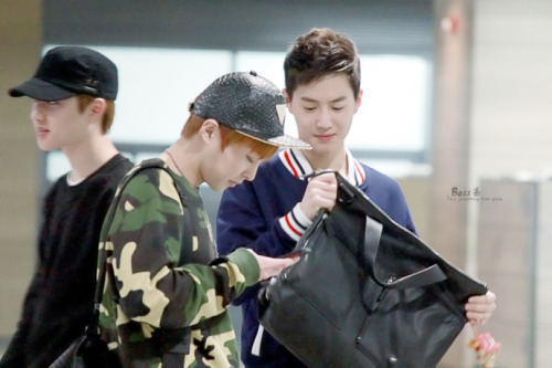 dailyexo:  Suho, Xiumin - 130415 Incheon Airport, arrival from Shenzhen Credit: BOSS丢. (인천공항 입국)  My 3 babys ;u;