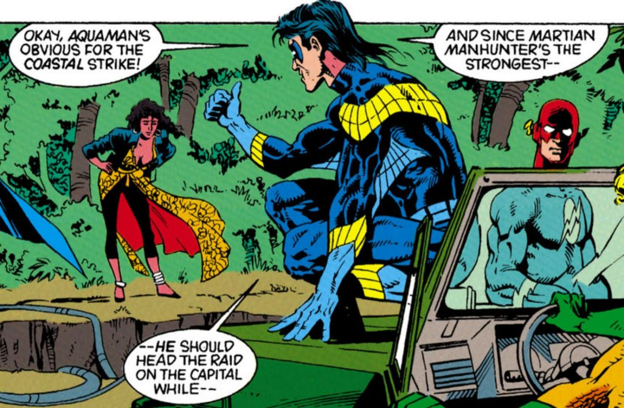 I see, the justice leaguers were hazing nightwing because they didn't want to get caught up in his chronic leadership syndrome ID under cut[image: 2 comic panels from justice league task force #2 showing dick grayson (nightwing) crouching on a jeep, trying to order around some justice league members (martian manhunter/jonn jonzz, wally west/flash, aquaman/arthur curry, Cindy Reynolds/codename is a racial slur. DICK: Okay, Aquamans obvious for the coastal strike! and since martian manhunters the strongest -- he should head the raid on the capital while --JONN JONZZ: This isnt the titans, nightwing! Youre a member here -- not a leader! Try to keep that in mindend image] #i am anticipating this comic being so bad unless they suddenly turn around the plot direction  #fade reads dc comics #dc comics #justice league task force #dick grayson#nightwing#jonn jonzz#martian manhunter#wally west#flash#arthur curry#aquaman#cindy reynolds#justice league
