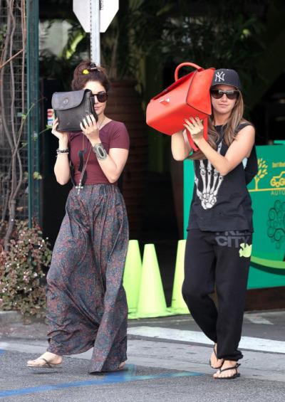 Vanessa Hudgens +Ashley Tisdale at out + about in Studio City on Wednesday.