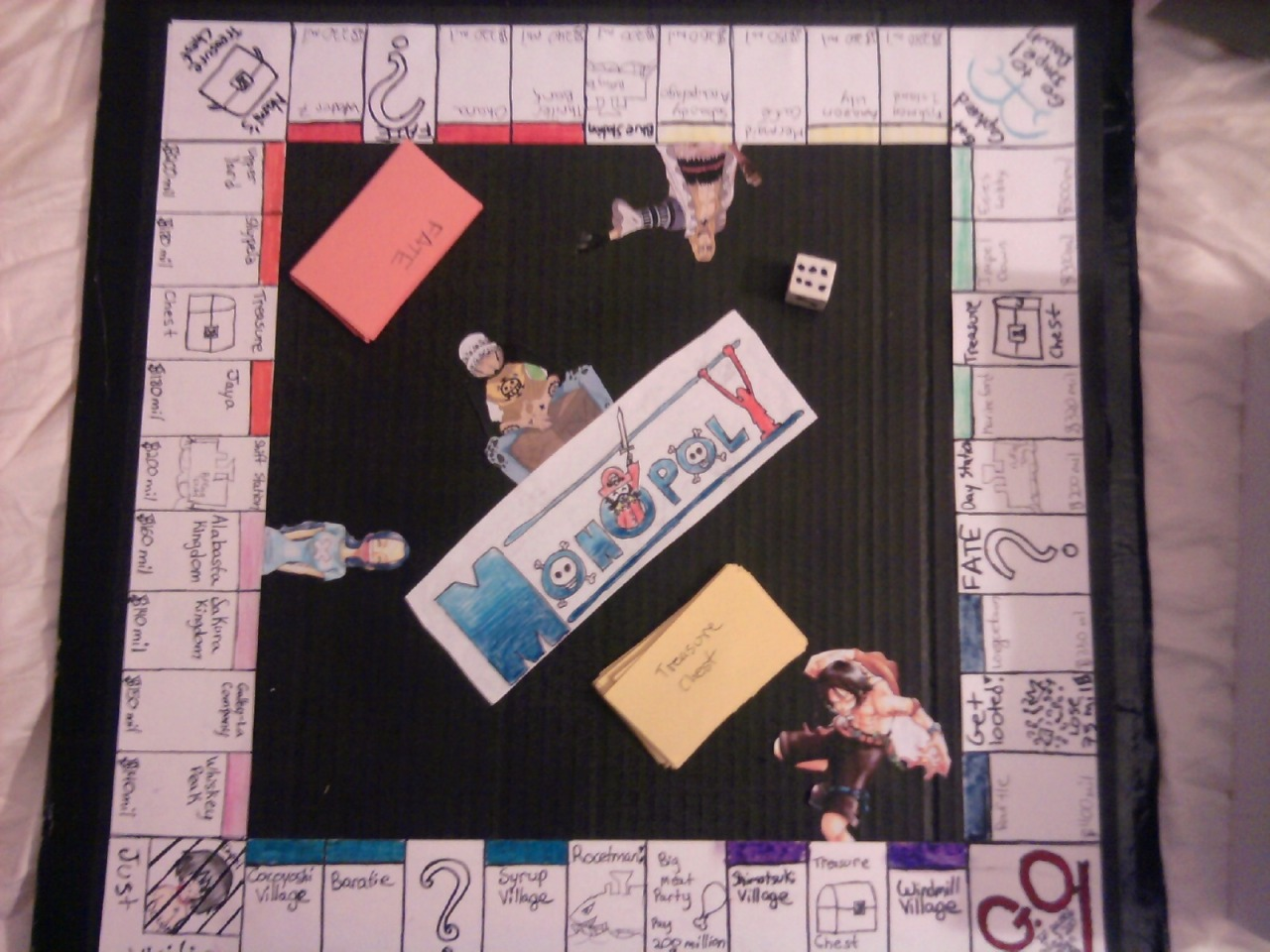thatmartiangirl:  I made a One Piece Monopoly game a while back for my sister for Christmas. It heavily featured her favorite characters (Ace, Ace, some other characters, and more Ace) Here are some pictures of it :) Just so you know, the other strawhats were on the sides of the box. I would show them, but Tumblr only lets me post a certain number of pictures at a time By the way, my sister got a Tumblr. If you would like to check it out, here's the link: http://therealacefangirl.tumblr.com/ Did I mention she really like Ace?  lauraluffy: this is aweeeeesoommeeeeeee! :)