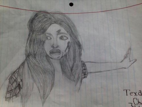 In honor of Texas Chainsaw 3D coming out tomorrow, I drew this in study hall. Wewt ~