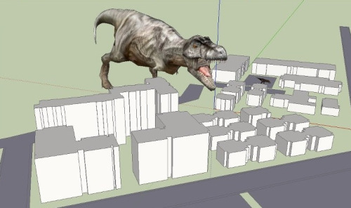 This T-Rex is attacking my model of UCM, in the name of art of course. #dinosaur