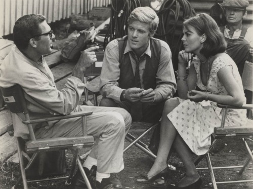 Sydney Pollack, Robert Redford and Natalie Wood on-set of This Property is Condemned (1966)