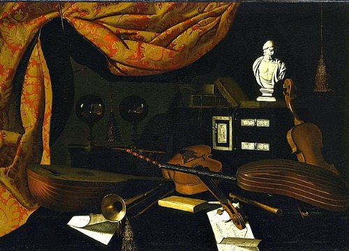 Bartolomeo Bettera Musical Instruments with Glass Spheres and Male Bust 17th century