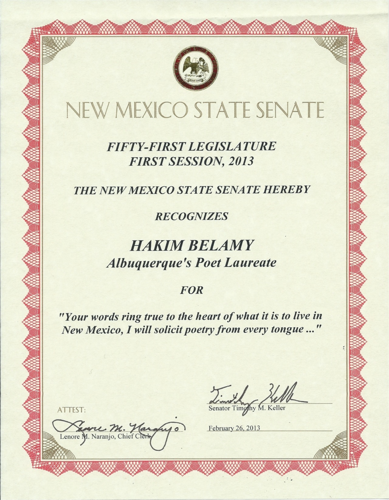I am proud to be recognized by the New Mexico State Legislature on the floor of the State Senate, thanks to Senator Tim Keller. I am equally proud to be part of the International Day/Asian American Day at the State Legislature festivities…where politics and poetry play nicely. Thank you New Mexico!