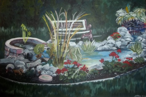 "Tranquil (2012) Acrylic on canvas - 24"" x 36"" A completed Christmas commission (Ha! Alliteration) for two close friends of mine. I hadn't done any landscapes for a long time. Matter of fact, I hadn't painted anything in almost six months at the time. So this was quite a nice challenge. Man, my camera kinda altered the colours here…but oh well. What can you do?"