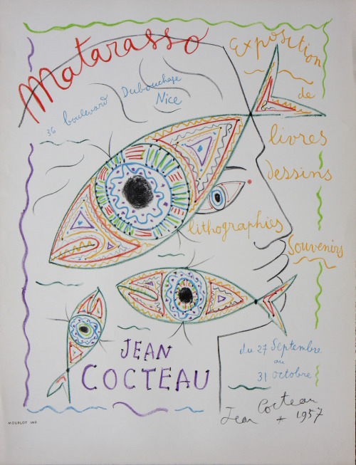 Jean Cocteau Vintage Lithographic Poster for an exhibition at Galerie Matarasso, Nice. Printed by Mourlot.
