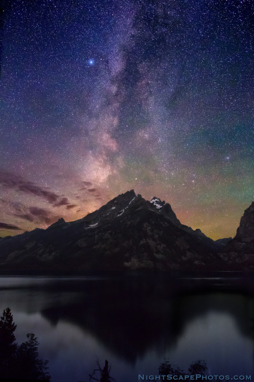"Milky Way Dawn over Jenny Lake (by IronRodArt - Royce Bair (""Star Shooter""))"