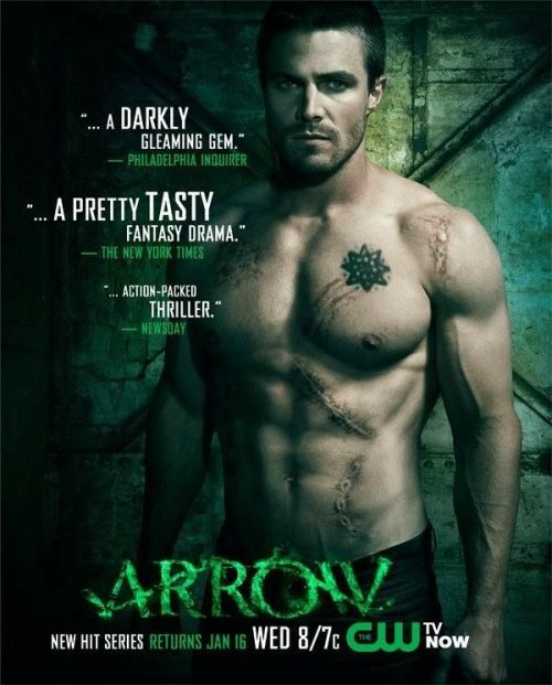 "comicsalliance:  LINK INK: TV: Hey, it's a new Arrow poster with a shirtless Oliver Queen showing off his abs scars! Don't say we never did nothin' for you! [Twitter]  Doctor on Arrow: ""He has scarring on over 75% of his body."" The Wife: ""Fortunately that scarring is in the shape of fantastic abs."""