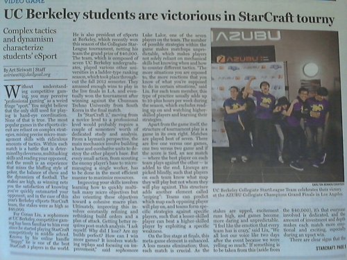 Newspaper article from UC Berkeley winning the CSL grand finals and $40,000.