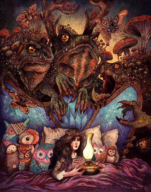 red-lipstick:  AngelaRizza - The Owl Princess And Her Night Terrors, 2013                               Ink, Watercolors, and Digital http://angelarizza.deviantart.com/art/The-Owl-Princess-And-Her-Night-Terrors-347366900