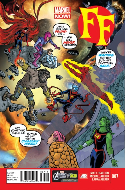 "digsyiscomics:  FF v2 #7, July 2013, written by Matt Fraction, penciled by Mike Allred  Everyone who loves what Marvel Comics are, were, and could be should be reading ""FF."" It's simultaneously the past, present and future of everything Marvel has ever stood for and should stand for, all with great art and characters. It's such a great book."