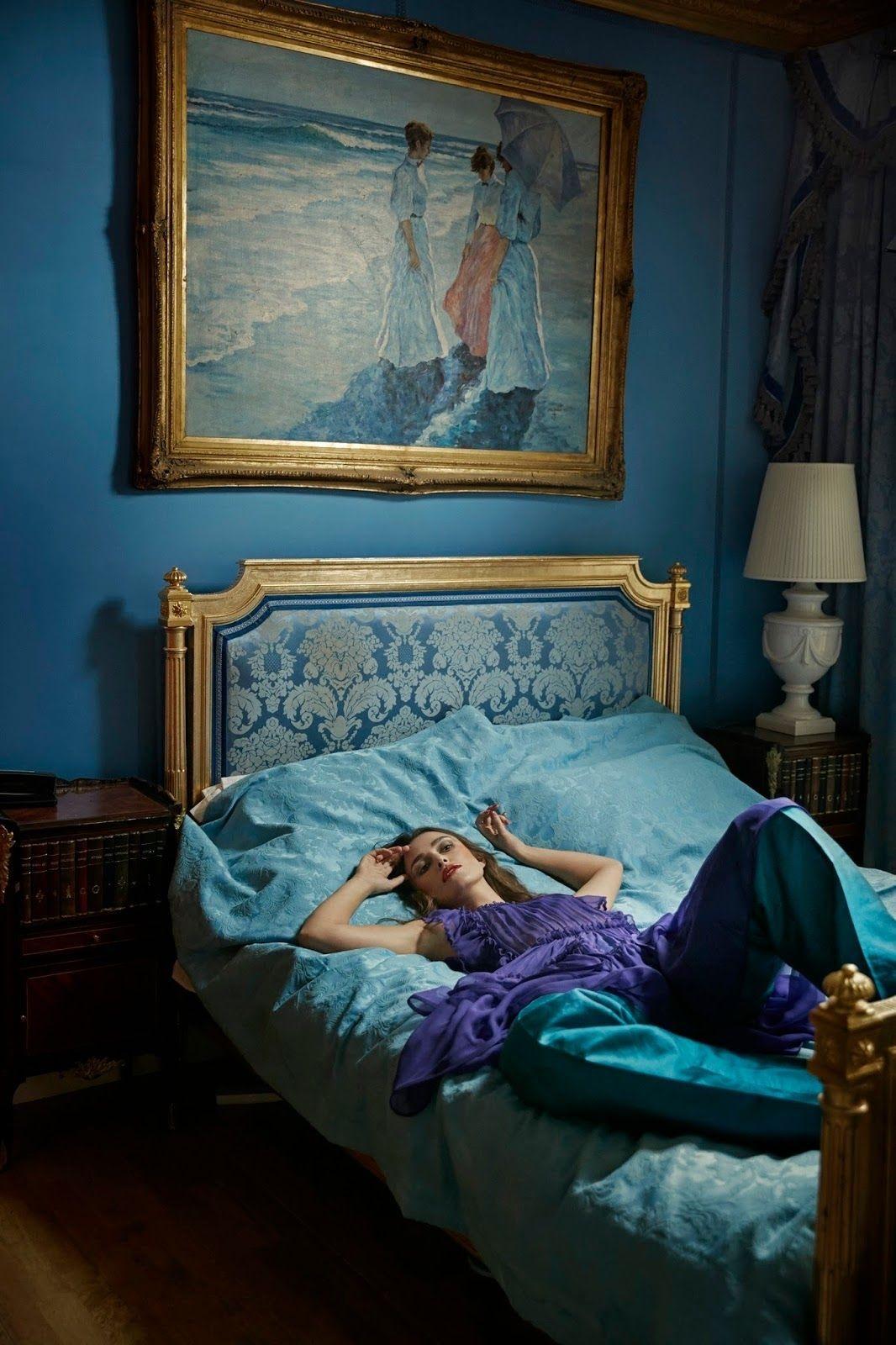 #home#interior#keira knightley#Bed#bedroom#blue