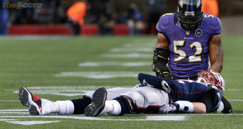 thescore:  Pic: Ray Lewis consoles his latest victim, Tom Brady.
