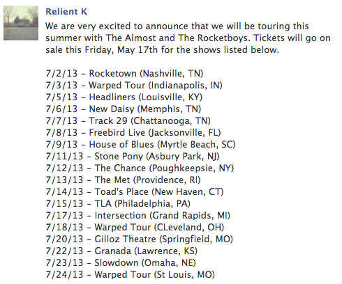smalltown-smallstage:  NEW RELIENT K TOUR DATES