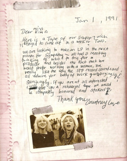 "Kim Gordon on her first meeting with Courtney Love: ""She was very charismatic and kind of wild. She asked me to produce her record, but I was really hesitant because I could tell she was a bit crazy. I usually stay away from such people. I have a good radar for insanity."" (source)"