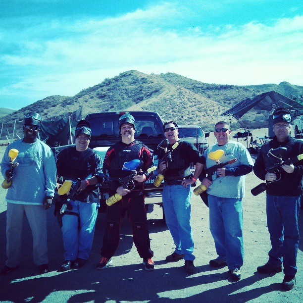 It's the 40 and over Paintball crew (at Paintball USA)
