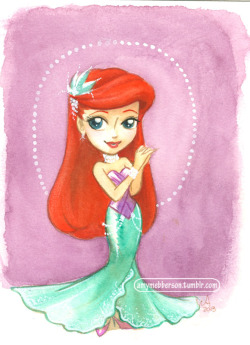 Little Glam Ariel.  In a mermaid skirt, Cuz dur. 5x7 watercolour