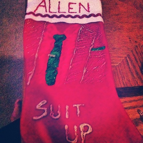 DIY Christmas stocking. #suitup