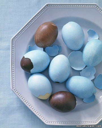 Solid dark, milk, or white chocolate filled real eggs (via Chocolate Egg - Martha Stewart Easter)