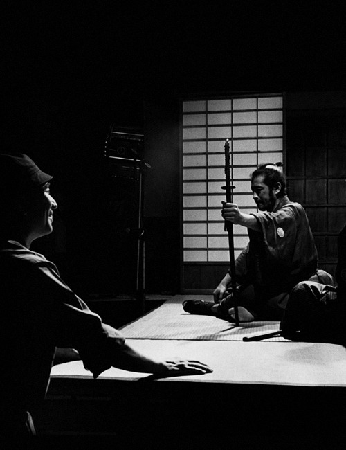 kurosawa-akira:  Akira Kurosawa and Toshiro Mifune on the set of Sanjuro (1962).  more films with these two that are far, far better than the one we saw today