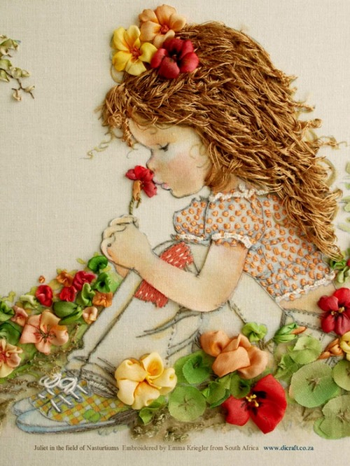 pictureperfectforyou:  (via Di van Niekerk's Silk Ribbon Embroidery)  Aww I want to make this for my pregnant aunt.
