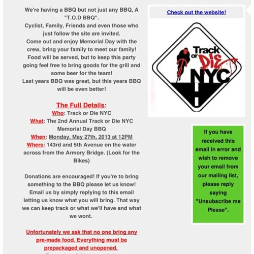 Spread the word! #trackordienyc #trackordie #track #bikes #bike #bikenyc #citibikes #new #ny #nyc #trackbikes #fixies #fixie #fixedgear