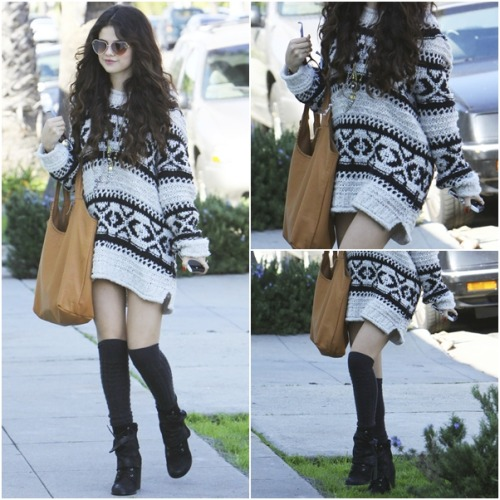 casual OUTFIT OF MONTH: January ♥ ‏ Selena wears: Free People Sweater Silver Reed Fairisle Print Jennifer Haley Sophisticated Shopper Tote Free People Horn Pendant Necklace Fergie Women's Major Boots