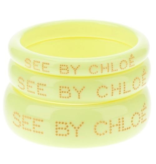 Monday's dash of colour: yellow.  Bangles by See by Chloé