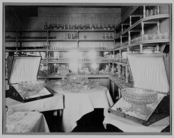Featuring cut glass punch bowls and silver-mounted jugs, this sumptuous display represents the glass that local firm T. G. Hawkes & Co. sent to the 1889 Paris Exposition where the firm was awarded the grand prize. Showroom of T. G. Hawkes, Corning, N. Y. [picture]: glass sent to Paris Exposition 1889, T. G. Hawkes & Co., Corning, NY, 1889. T. G. Hawkes records. CMGL 94031.