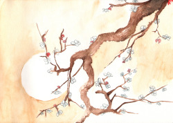 A study of 'Plum Blossoms' while messing about with watercolours.