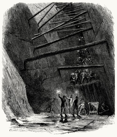 Interior of an iron mine.  From The underground world, by Thomas Wallace Knox, Hartford, 1877.  (Source: archive.org)