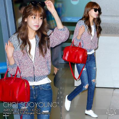 130522 [PRESS] Sooyoung : Airport Fashion - Arriving from Bangkok after True Beyond event. Comfy with shades on ^_^ Point is the red bag. Source:  reviewstar