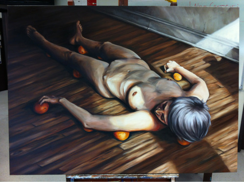 """Nude, Still life, with oranges."" oil on canvas, 38x52 inches. 2013"