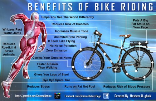 "Benefits Of Bike Riding  When they invented the bike for the first time, they had no idea that a time will come when it will have all these benefits, otherwise its price would have been too high to afford! — Here is my new infographic on the ""Benefits Of Bike Riding""… ➤ Runs on Fat Not Fuel ➤ Reduces Stress ➤ Reduces Risk of Diabetes ➤ Reduces Risk of Blood Pressure ➤ Increases Muscle Tone ➤ Gives You Legs of Steel ➤ Helps You See The World Differently ➤ Unlimited Free Parking ➤ Faster & Easier Than Walking ➤ Zero Emission ➤ No Noise Pollution ➤ It Feels Like Flying ➤ It Carries Your Goodies Home ➤ Whizzes Past Traffic Jams ➤ Puts A Big Fat Smile on Your Face ➤ Bye Bye Spare Tire ➤ Reduces Roadkill & Saves Animals Enlarge This Graphic : http://is.gd/FSF6R8"