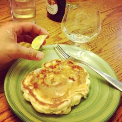 Tequila shots and banana pancakes. #bro
