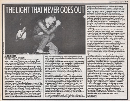 Review of Morrissey's July 1991 at the Wembley Arena, by Simon Price for Melody Maker.