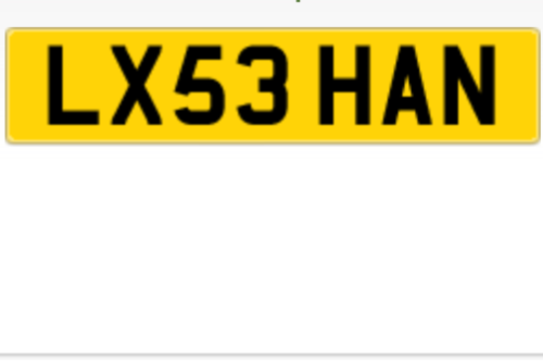 My new reg!! Can't wait to get this bad boy on my new car :)