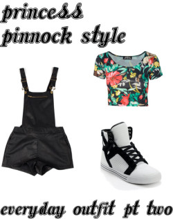 princesspinnockstyle:   Leigh anne everyday outfit pt 2 by princesspinnockstyle featuring bib overall shorts Short sleeve shirt, $11 / Bib overall shorts / Supra black and white sneaker