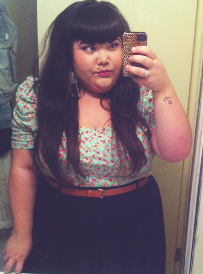 The higher the hair, the closer to the Clams top - f21+, skirt and belt - asos curve, skellie earrings - i made that shit