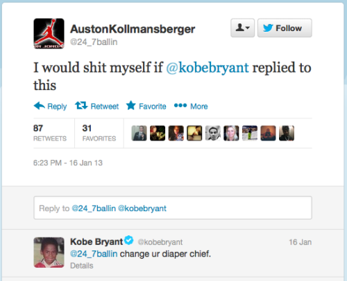 Kobe on twitter is glorious (in both amazing and horrible ways).