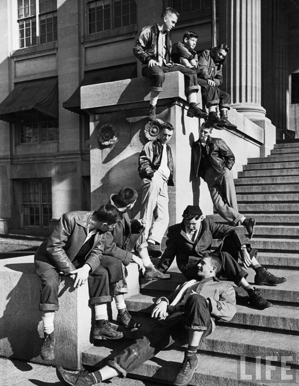 """The Hangout: """"Teenage boys hanging out on the steps of building"""", Iowa, 1948(via LIFE)"""